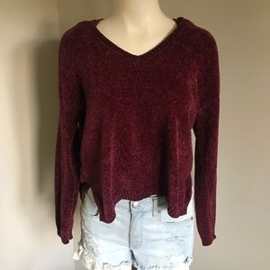 Forever 21 Hooded Knit Crop Pullover Sweater Red Medium